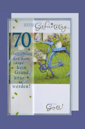 70 Geburtstag Lifestyle Karte Grußkarte Applikation Fahrrad 16x11cm