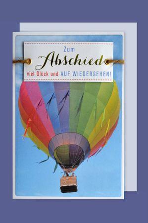 Abschied Lifestyle Karte Grußkarte Applikation Heißluftballon 16x11cm