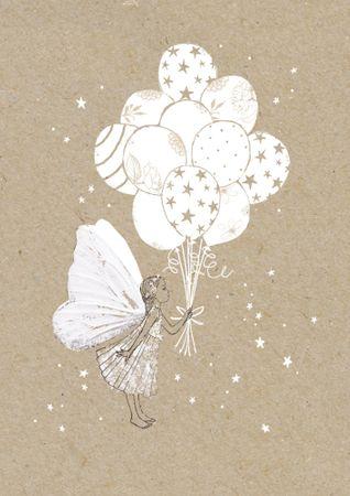DE031  B6 Grußkarte Fee mit Ballons