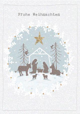 XDE002  B6 Weihnachtskarte Krippe