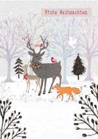 XDE003  B6 Weihnachtskarte Tiere im Wald