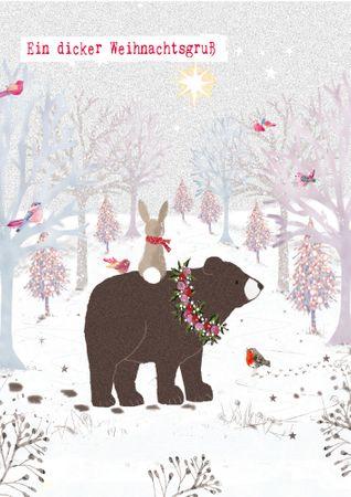 XDE012  B6 Weihnachtskarte Bär und Hase im Wald