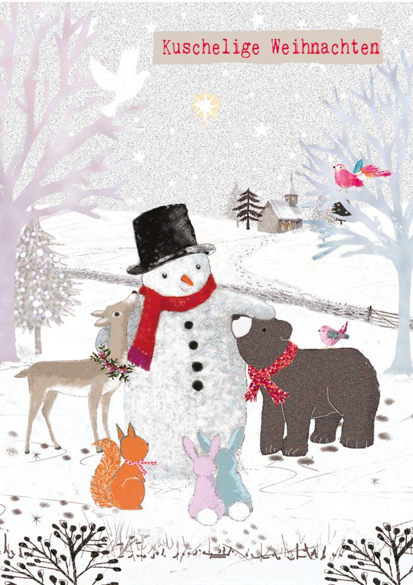 Weihnachtskarten Tiere.Xde015 B6 Weihnachtskarte Tiere Im Wald Mit Schneemann Popshot