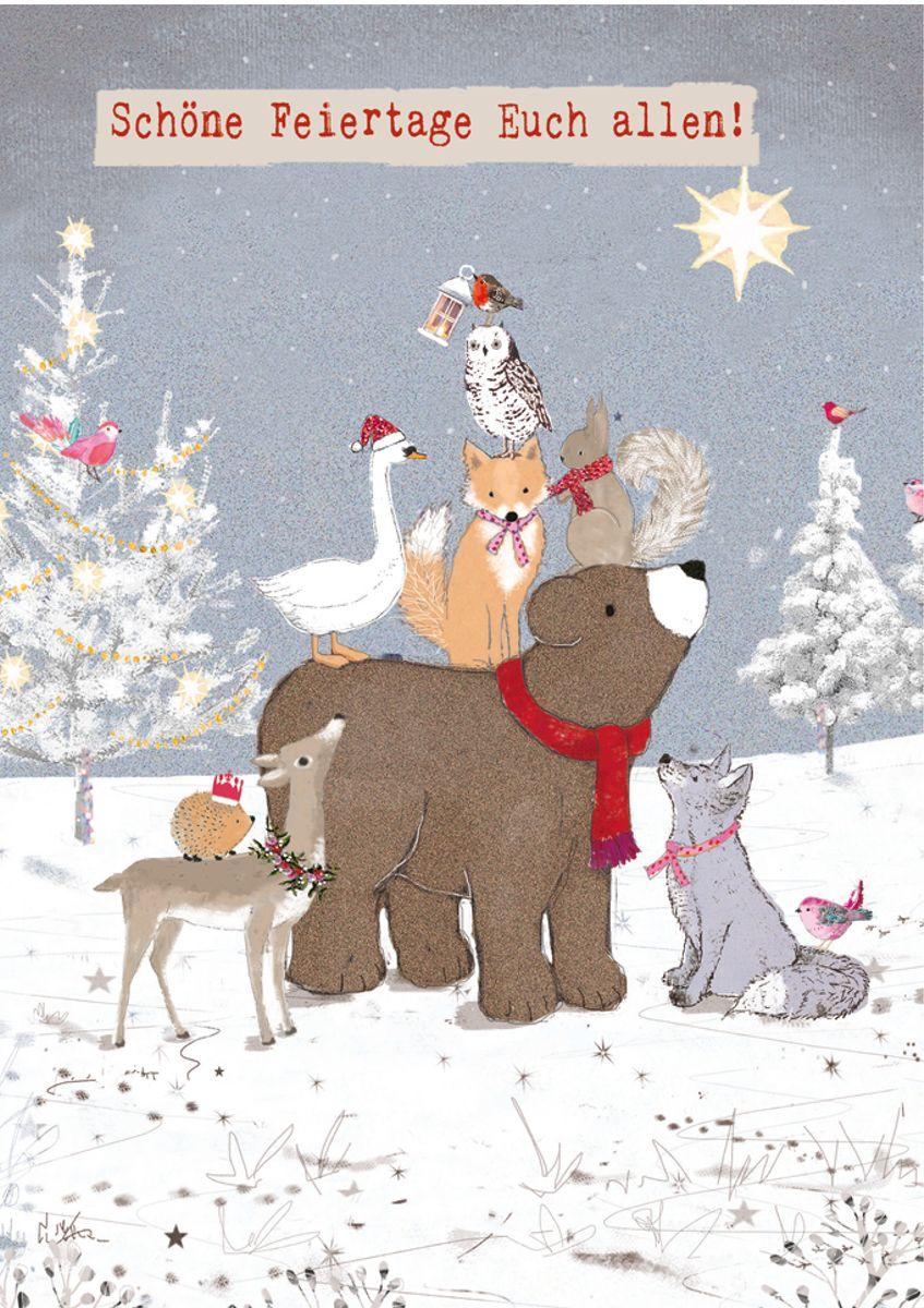 Weihnachtskarten Tiere.Xde019 B6 Weihnachtskarte Tiere Im Wald Und Weihnachtsstern Popshot