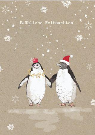 XDE032  B6 Weihnachtskarte Pinguinpaar
