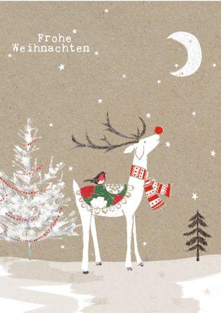 XDE038  B6 Weihnachtskarte Rudi das Rentier