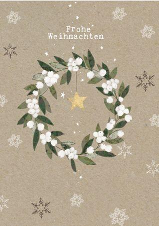 XDE040  B6 Weihnachtskarte Weihnachtskranz