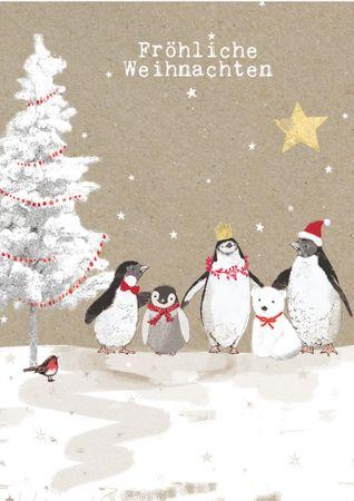 XDE043  B6 Weihnachtskarte Pinguinfamilie mit Eisbär