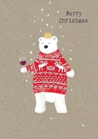 XDE056  B6 Weihnachtskarte B6 Weihnachtskarte Eisbär mit Weinglas