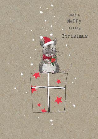 XDE059  B6 Weihnachtskarte Maus auf Paket