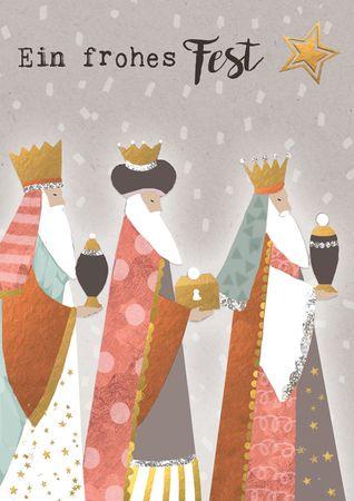 XDE063  B6 Weihnachtskarte Heilige 3 Könige