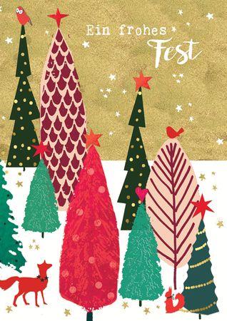 XDE071  B6 Weihnachtskarte Moderne Waldszene