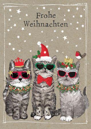 XDE073  B6 Weihnachtskarte Weihnachtskätzchen