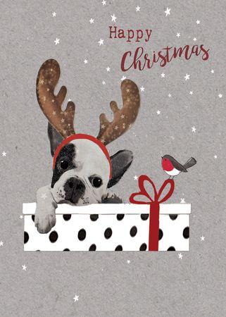 XDE074  B6 Weihnachtskarte Franz. Bulldoge mit Geschenk