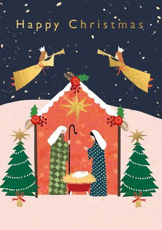 XDE078  B6 Weihnachtskarte Krippe