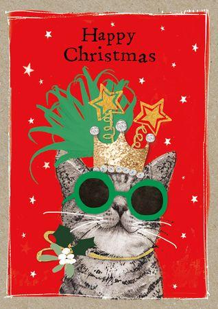 XDE086  B6 Weihnachtskarte Lustige Katze