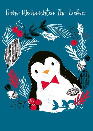 XDE101  B6 Weihnachtskarte Lustiger Pinguin