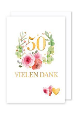 50 Goldhochzeit Danksagung 5er Mehrstückpackung Blumenstrauß 5 Karten 15x11cm