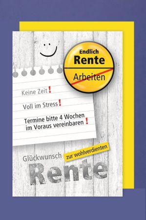Rente Ruhestand Pension Karte Grußkarte Humor Button 16x11cm
