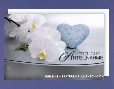 Trauer Karte Grußkarte Geldkarte für Blumenschmuck Blüte 11x17cm