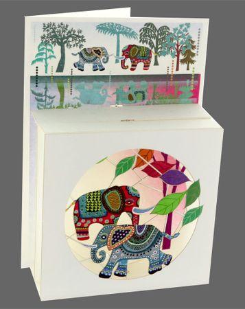 Pop Up 3 Ebenen 3D Laser Karte Geburtstag Hand gesteckt Traum Elefanten 17x13cm