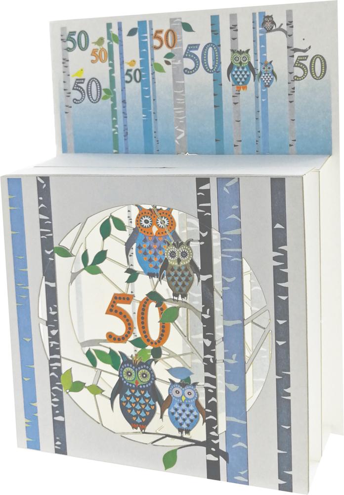 50 Geburtstag Pop Up 3 Ebenen 3D Laser Karte Hand gesteckt Schlaue Eulen 17x13cm