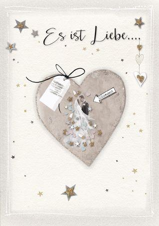 Hochzeit Heirat Karte Glitzersteine Grußkarte Liebe 17x12cm