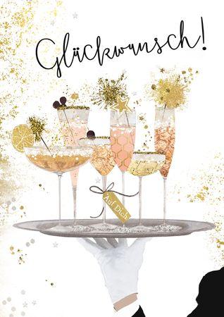 Glückwunsch Geburtstag Karte Glitzersteine Grußkarte Cocktail 17x12cm
