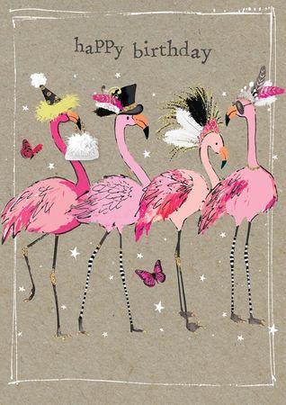 Humor Geburtstag Karte Glitzersteine Grußkarte Flamingos 17x12cm