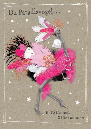 Humor Geburtstag Karte Glitzersteine Grußkarte Vogel Strauss 17x12cm