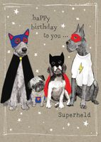 Humor Geburtstag Karte Glitzersteine Grußkarte Hundefamilie 17x12cm