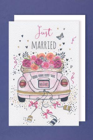 Hochzeit Karte Grußkarte Präge-Foliendruck MR&MRS Hochzeitsreise 16x11cm
