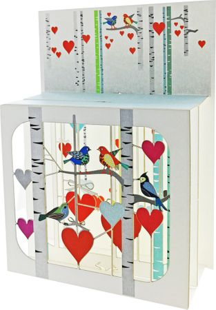 Hochzeit Pop Up 3 Ebenen 3D Laser Karte Geburtstag Liebesvögel 17x13cm