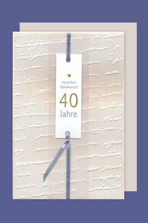 40 Geburtstag Karte Grußkarte Edelkarte Glückwunsch 16x11cm