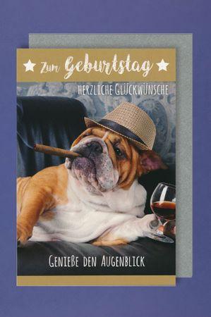 Männer Geburtstag Karte Grußkarte Humor Zigarre Wein 16x11cm