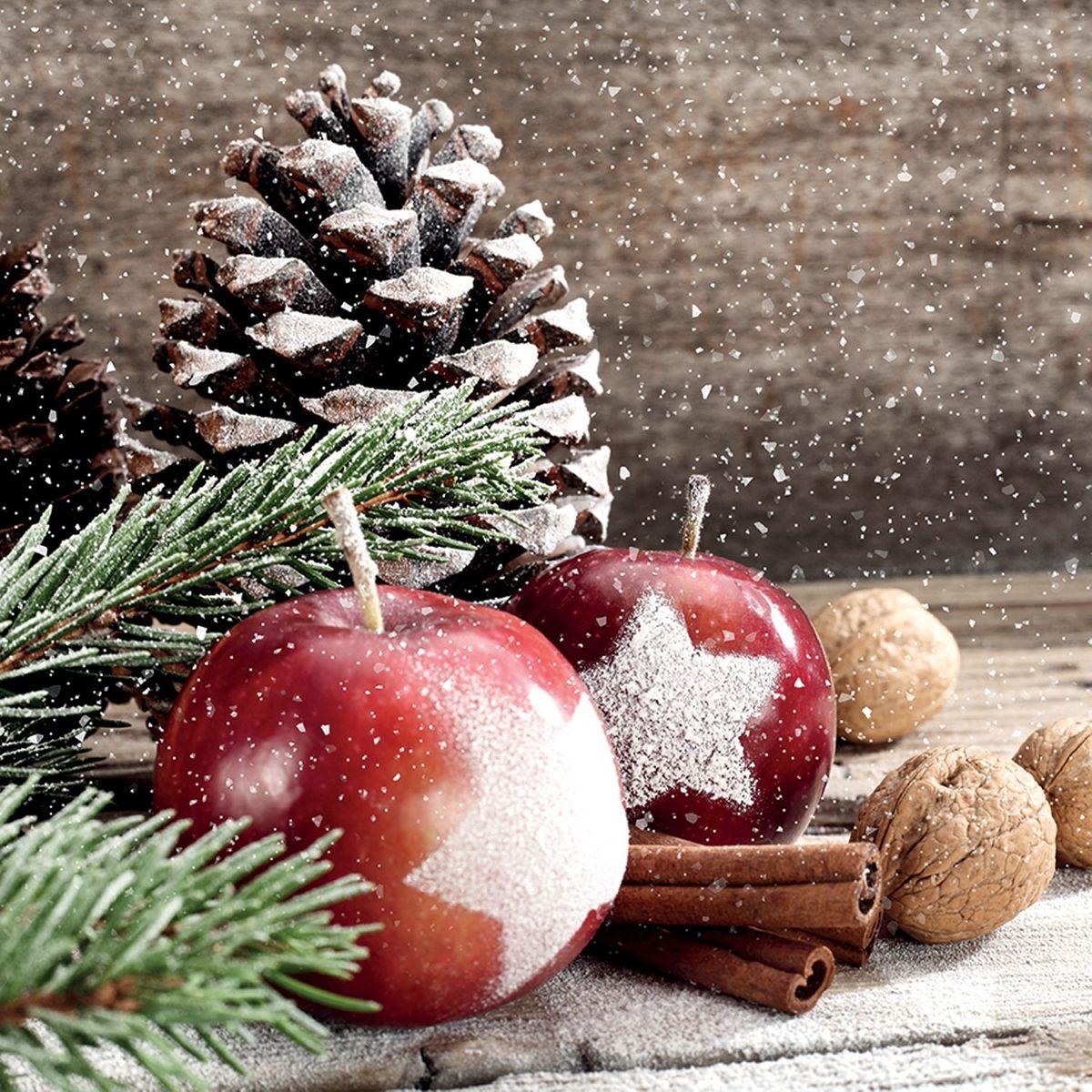 Servietten Weihnachten Winter Apfel Tannenzapfen 20er Cocktail 3-lagig 25x25cm