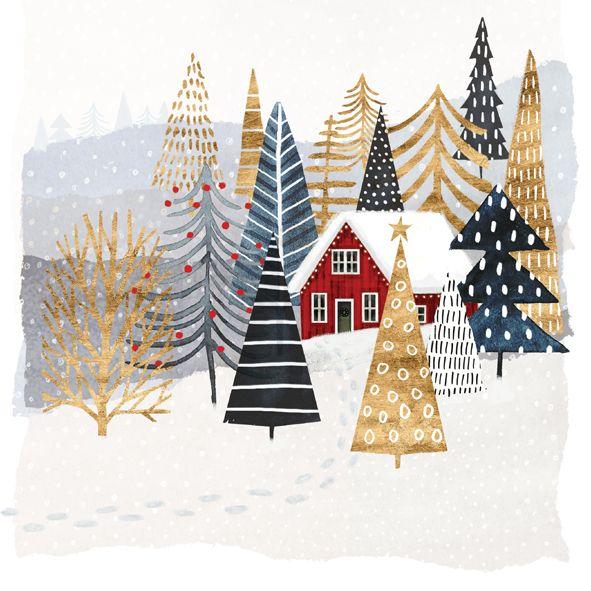 Servietten Weihnachten Winter Schneeberge 20 St 3-lagig 33x33cm