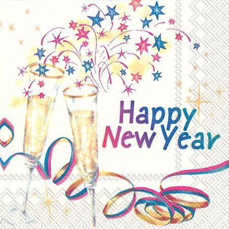 Servietten Silvester 2019 Neujahr Party Feier Konfetti 20 St 3-lagig 33x33cm