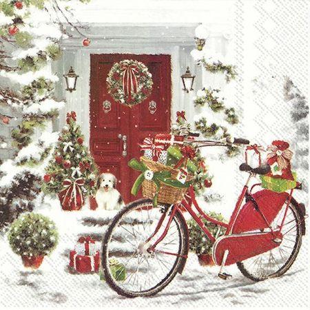 Servietten Weihnachten Winter Fahrrad Schnee 20 St 3-lagig 33x33cm