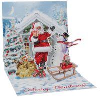 Pop Up 3D Weihnachten Karte PopShot Santa Schnee Schlitten 13x13 cm