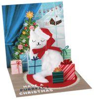 Pop Up 3D Weihnachten Karte PopShot Katze 13x13 cm