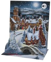 SOUND Pop Up 3D Weihnachten Karte PopShot Winterdorf 18x13cm