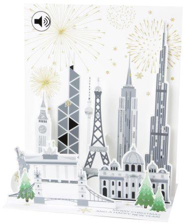 SOUND Pop Up 3D Weihnachten Neujahr Karte PopShot Weltstadt 18x13cm
