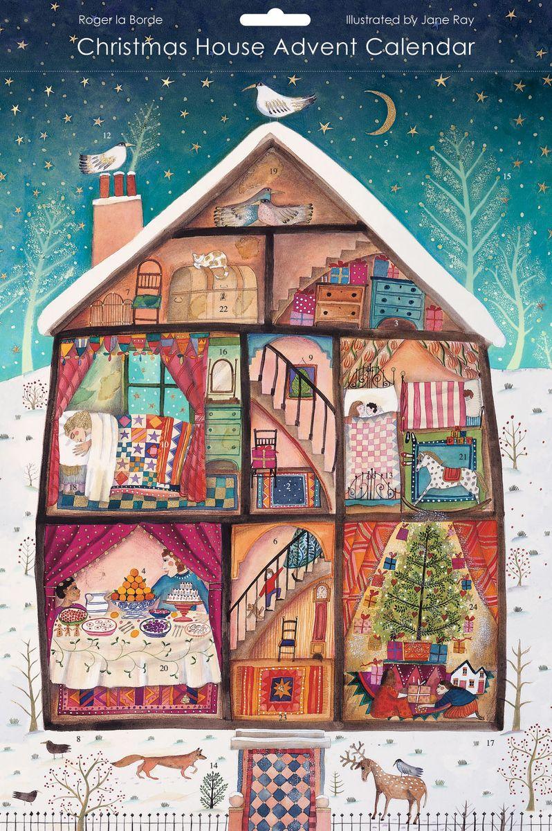 Adventskalender Roger-la-Borde Karte Weihnachten Heim Zuhause 17x12cm