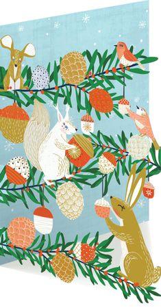 Weihnachten Roger-la-Borde Karte Lasercut Winter Grußkarte Eichhörnchen 17x12cm