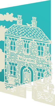 Umzug Neues Heim Roger-la-Borde Karte Lasercut Grußkarte Einzug Haus 17x12cm