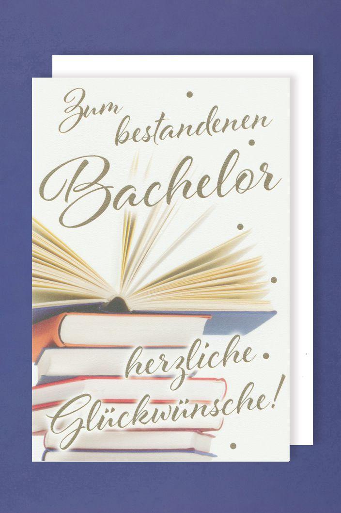 Bachelor Prüfung Grußkarte Karte Bestanden Bücher 16x11cm