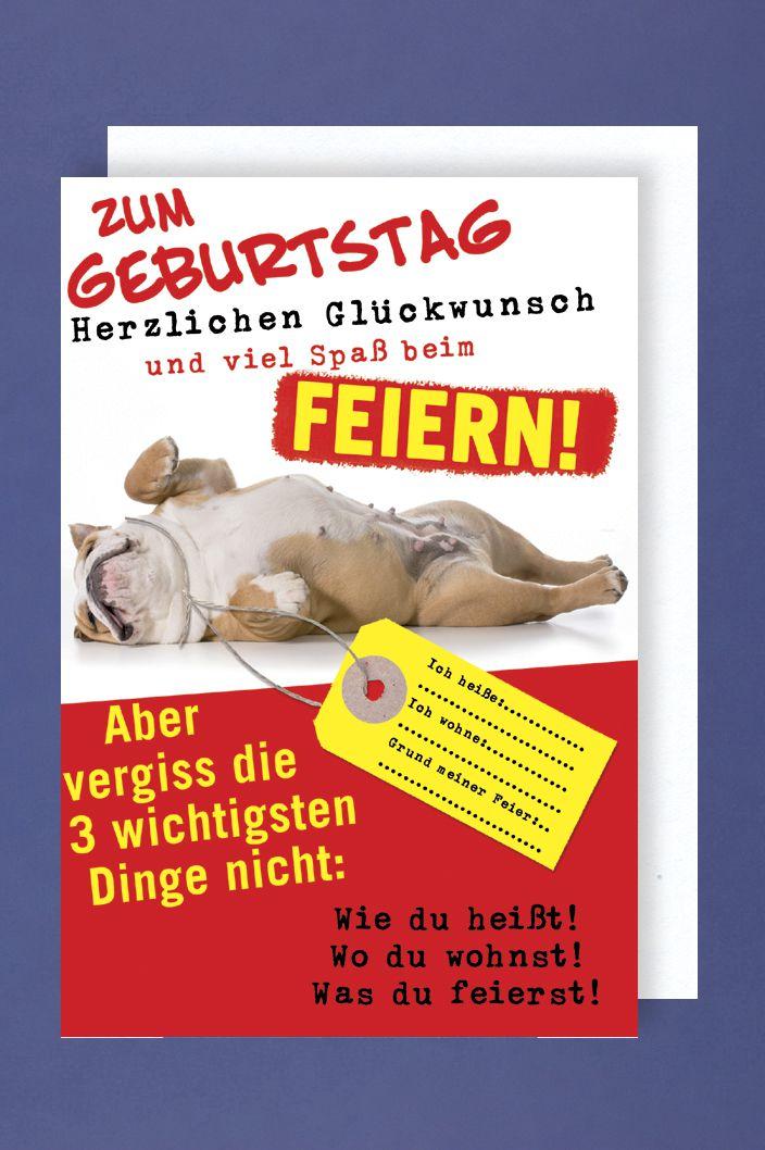 Humor Tier Geburtstag Karte Grußkarte Sprüche Spaß Feiern Hund 16x11cm