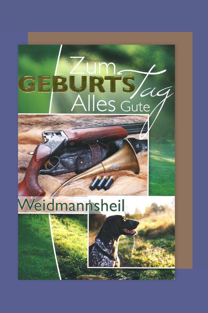 Jäger Geburtstag Karte Grußkarte Waidmannsheil Jagdhund Horn 16x11cm