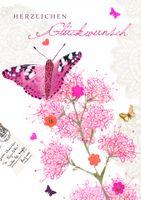 6EX041 Swarovski Elements Midi Karte Handmade Butterfly 12x17 cm